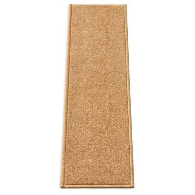 Kings Court Warby Beige Modern Solid Plain Rubber Back Non-Skid 9 in. x 31 in. Stair Tread Cover (Set of 7)