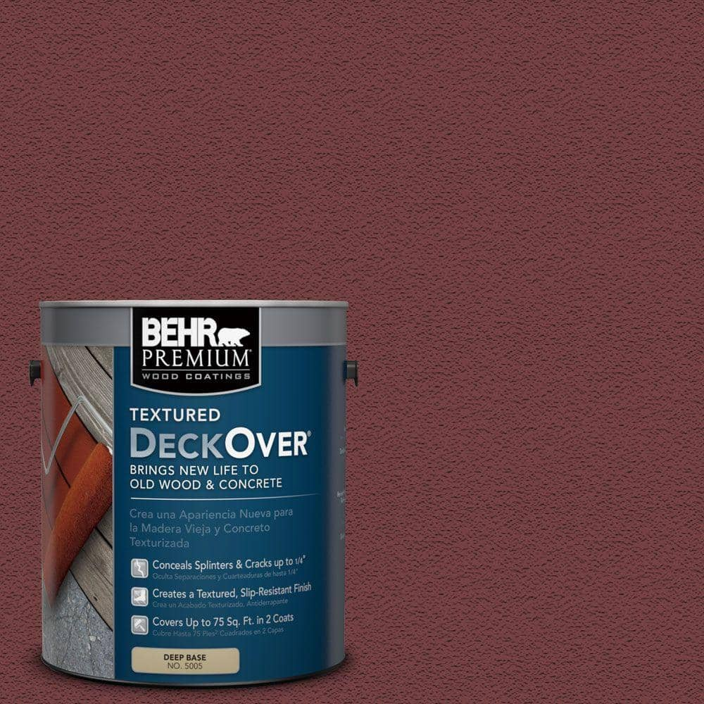 BEHR Premium Textured DeckOver 1 gal. #PFC-04 Tile Red Textured Solid Color Exterior Wood and Concrete Coating