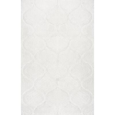 Elsha Trellis Shag White 4 ft. x 6 ft.  Area Rug