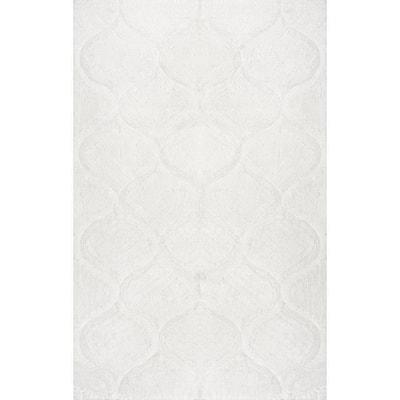 Elsha Trellis Shag White 9 ft. x 12 ft. Area Rug
