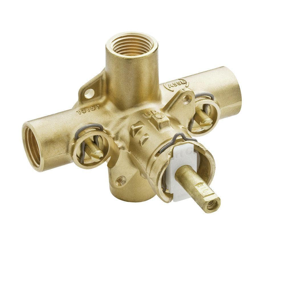Moen Brass Rough In Posi Temp Pressure Balancing Cycling Tub And Shower Valve With Stops 1 2 In Ips Connection 2590 The Home Depot