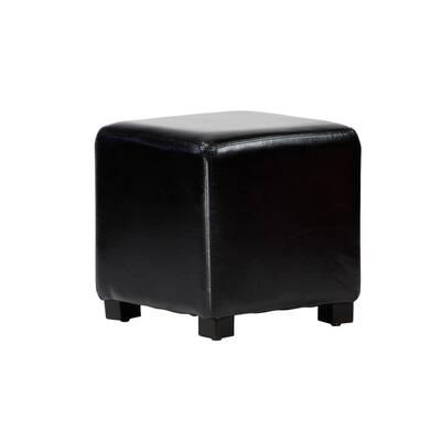 Tyler Black Faux Leather Ottoman Cube