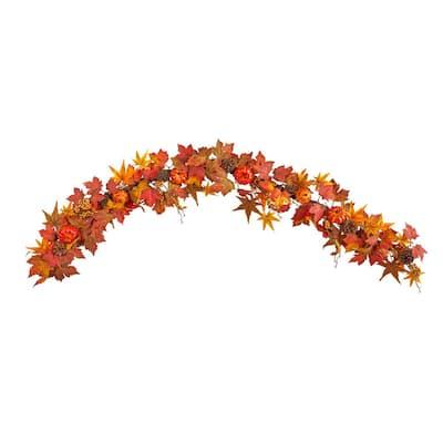 6 ft. Orange Autumn Maple Leaf, Pumpkin, Gourd and Berry Artificial Fall Garland