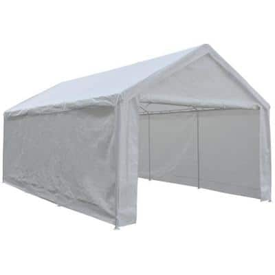12 ft. x 20 ft. x 9.1 ft. White Roof Steel Carport