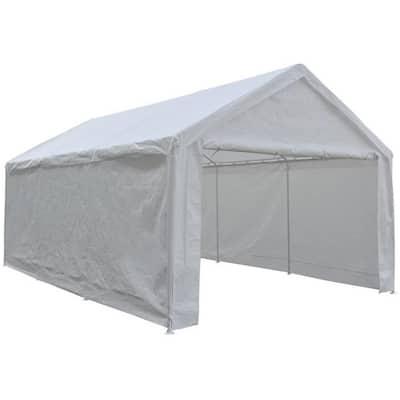 12 ft. x 20 ft. x 9.1 ft. White Roof Steel Carport