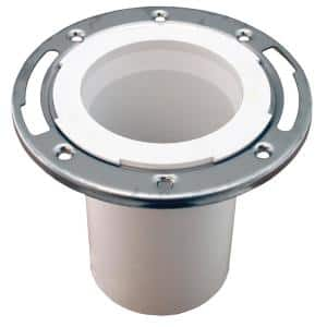 7 in. O.D. Plumbfit PVC Closet (Toilet) Flange w/Stainless Steel Ring & 6 in. Shank for 3 in. or 4 in. Sch. 40 DWV Pipe