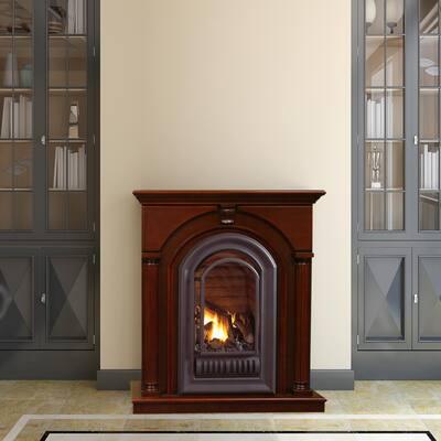 40 in. 20,000 BTU Ventless Liquid Propane Gas Fireplace in Cherry