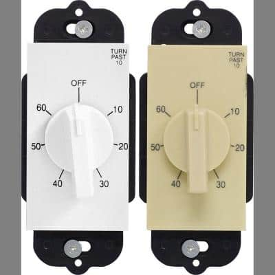 20 Amp 60-Minute In-Wall Spring Wound Timer with White and Almond Wall Plate