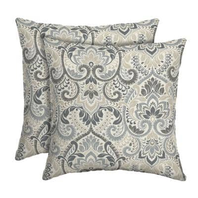 16 in. x 16 in. Neutral Aurora Damask Outdoor Square Pillow (2-Pack)