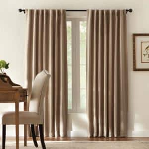 Taupe Solid Back Tab Room Darkening Curtain - 50 in. W x 95 in. L