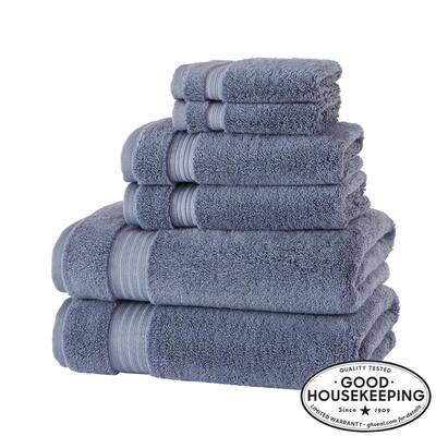 Egyptian Cotton 6-Piece Towel Set in Steel Blue