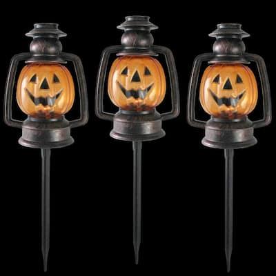 16.5 in. Flickering Pumpkin Halloween Pathway Lantern Markers (Set of 3)