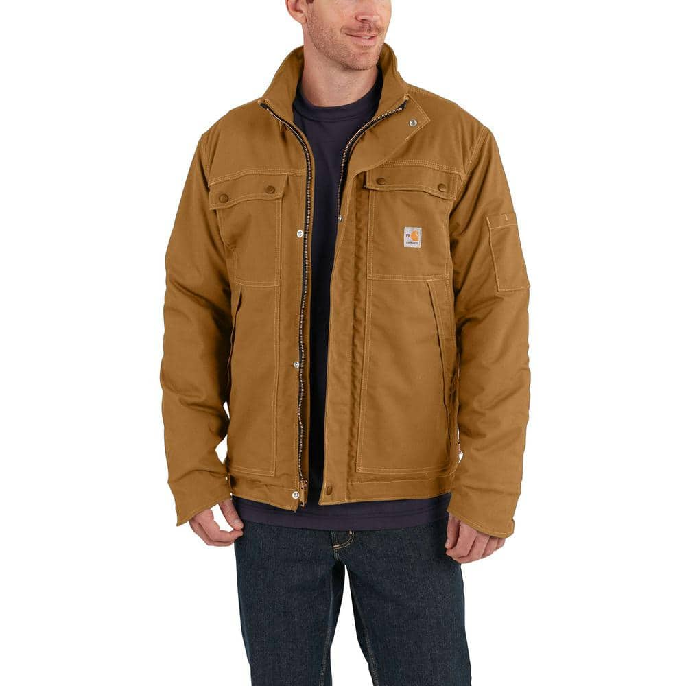 Carhartt Men S 3x Large Brown Cotton Nylon Fr Full Swing Quick Duck Coat 102182 211 The Home Depot [ 1000 x 1000 Pixel ]