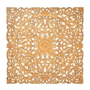 48 in. x 16 in. ''Carved Botanical Scrollwork'' Framed Wooden Wall Art (Set of 3)