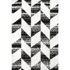Avery Herringbone Cozy Shag Black and White 5 ft. 3 in. x 7 ft. 7 in. Indoor Area Rug