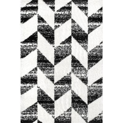 Avery Herringbone Cozy Shag Black and White 7 ft. 10 in. x 10 ft. Indoor Area Rug