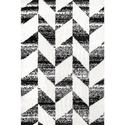 Avery Herringbone Cozy Shag Black and White 9 ft. x 12 ft. Indoor Area Rug