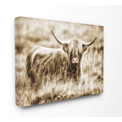 """36 in. x 48 in. """"Vintage Cow In Pasture Photo"""" by Villager Jim Canvas Wall Art"""