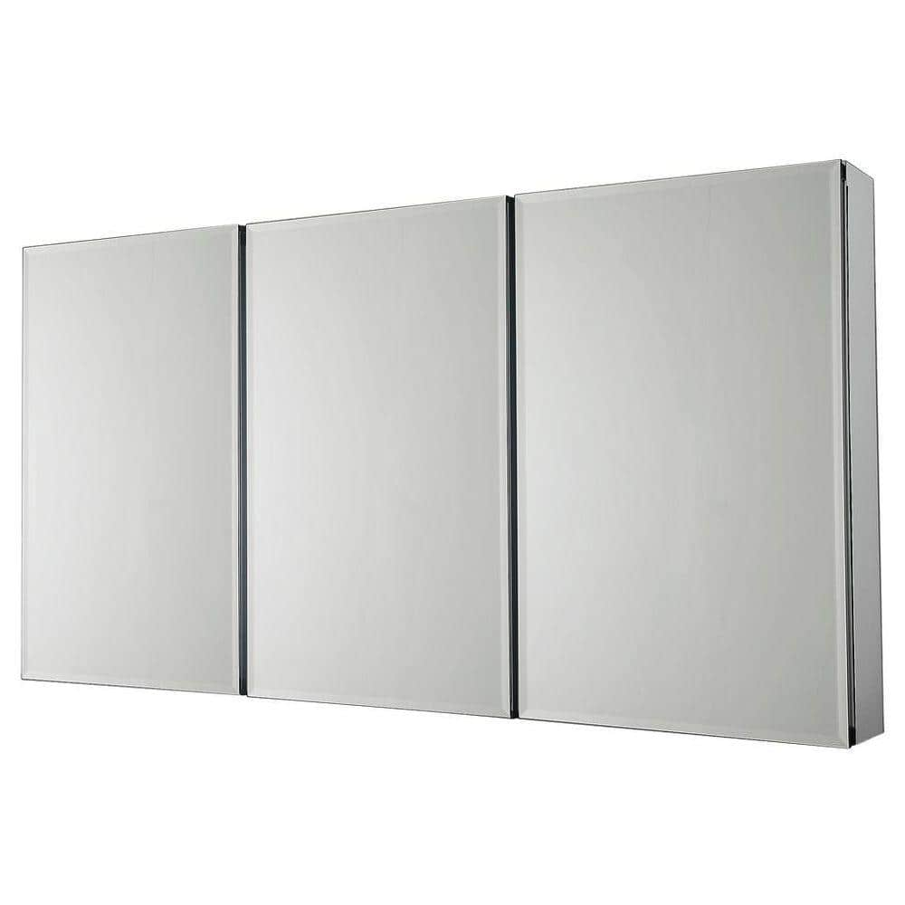 Pegasus 48 In W X 26 In H Frameless Recessed Or Surface Mount Tri View Bathroom Medicine Cabinet With Beveled Mirror Sp4588 The Home Depot