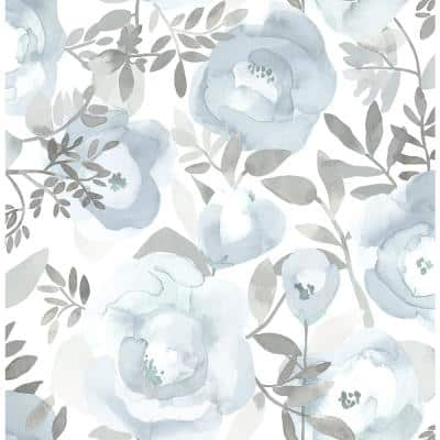Orla Blue Floral Blue Paper Strippable Roll (Covers 56.4 sq. ft.)