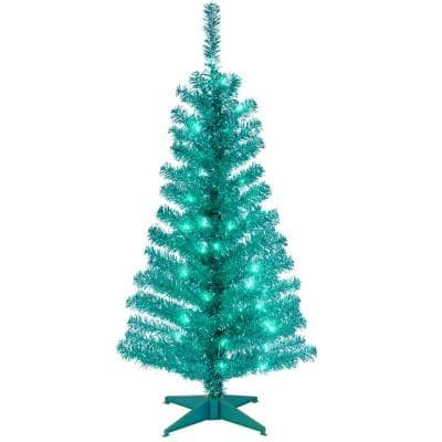 4 ft. Turquoise Tinsel Artificial Christmas Tree with Clear Lights