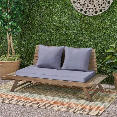 Sedona Grey Wooden Outdoor Loveseat with Dark Grey Cushions