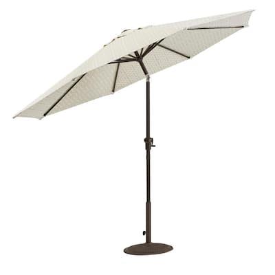 Camden 9 ft. Aluminum Crank Patio Umbrella in Fretwork Flax