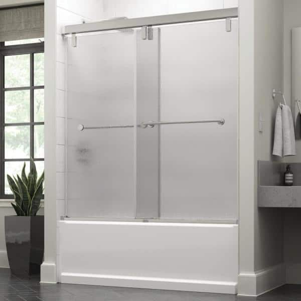 Delta Lyndall 60 X 59 1 4 In Frameless Mod Soft Close Sliding Bathtub Door In Chrome With 3 8 In 10mm Rain Glass Sd3442363 The Home Depot