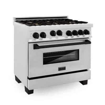 Autograph Edition 36 in. 4.6 cu. ft. Range with Gas Stove and Gas Oven in DuraSnow Stainless Steel w/Matte Black Accents