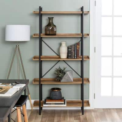 68 in. Barnwood/Black Metal 5-shelf Etagere Bookcase with Open Back