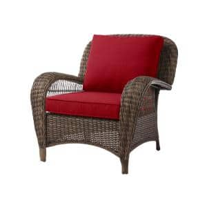 Beacon Park Brown Wicker Outdoor Patio Stationary Lounge Chair with CushionGuard Chili Red Cushions