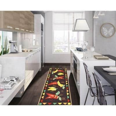 Siesta Kitchen Collection Hot Peppers Design Black 1 ft. 8 in. x 4 ft. 11 in. Runner