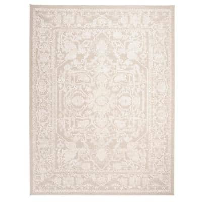 Reflection Cream/Ivory 9 ft. x 12 ft. Border Floral Area Rug