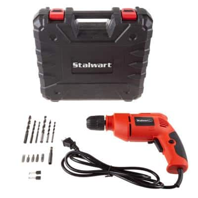 3.2 Amp Corded Electric 3/8 in. Power Drill with 6 ft. Cord and Carrying Case
