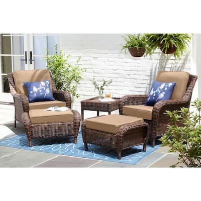 Cambridge Brown Wicker Outdoor Patio Ottoman with Sunbrella Beige Tan Cushions