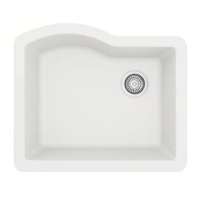 Undermount Quartz Composite 24 in. Single Bowl Kitchen Sink in White