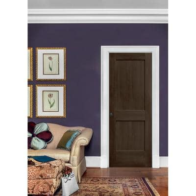 30 in. x 80 in. Monroe Espresso Stain Left-Hand Solid Core Molded Composite MDF Single Prehung Interior Door