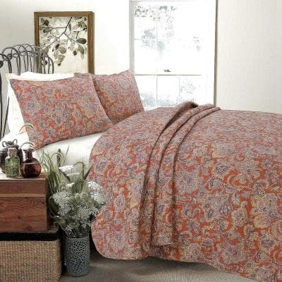 Vintage Rustic Bronze Country Paisley Fall Floral 3-Piece Copper Gray Red Orange Beige Cotton Queen Quilt Bedding Set