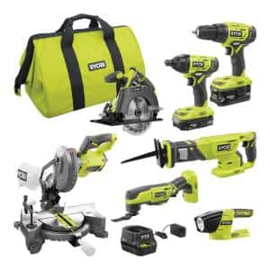 ONE+ 18V Cordless 6-Tool Combo Kit with 7-1/4 Miter Saw, (2) Batteries, Charger, and Bag