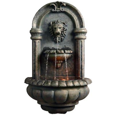 Outdoor Royal Lion Head Wallfall Fountain with LED Light