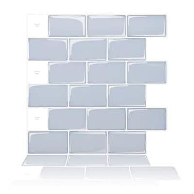 Subway Ash-Blue 12 in. x 12 in. Peel and Stick Self-Adhesive Decorative Wall Tile Backsplash