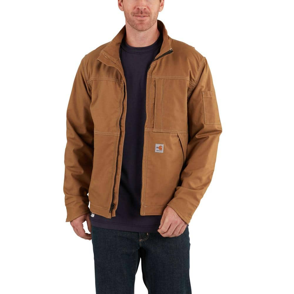 Carhartt Men S Large Tall Brown Fr Cotton Nylon Fr Full Swing Quick Duck Jacket 102179 211 The Home Depot [ 1000 x 1000 Pixel ]