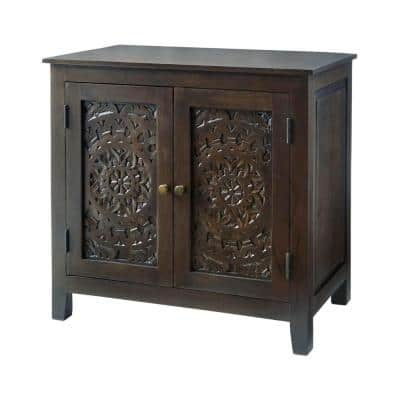Katya Dark Coffee Hand Carved Wood Nightstand (32 in W. X 30 in H.)