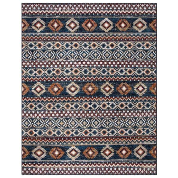 Stylewell Rosalynn Navy Multi Color 8 Ft X 10 Ft Global Low Pile Area Rug Sw1246 8x10 The Home Depot