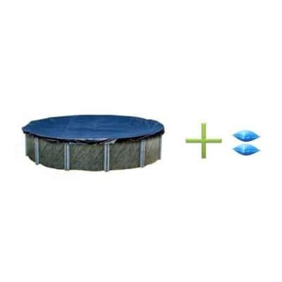 28 ft. W x 28 ft. L Round Above Ground New Winter Swimming Pool Cover and Two 4x8 Air Pillows