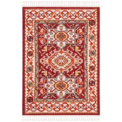 Farmhouse Ivory/Red 4 ft. x 5 ft. Floral Area Rug