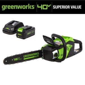 16 in. 40V Battery Cordless Brushless Chainsaw with 6.0 Ah Battery and Charger