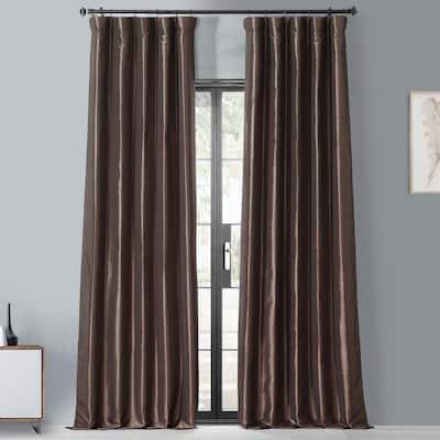 Mushroom Faux Silk Rod Pocket Blackout Curtain - 50 in. W x 84 in. L