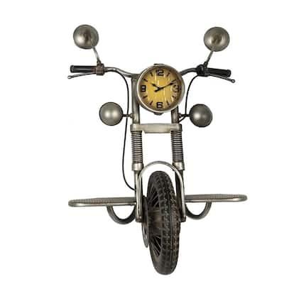 21 in. x 24 in. Silver Metal Motorcycle Wall Clock