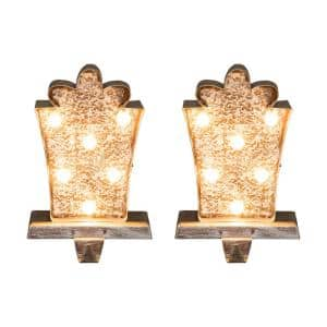 2-Pack Marquee LED Wooden/Metal Gift Box Stocking Holder